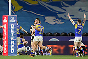 Leeds Rhinos players celebrate a try during the Betfred Super League match between Hull FC and Leeds Rhinos at Kingston Communications Stadium, Hull, United Kingdom on 19 April 2018. Picture by Mick Atkins.