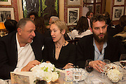 JOHNNY PIGOZZI; JUSTINE PICARDIE; SANDRO KOPP, Charles Finch and  Jay Jopling host dinner in celebration of Frieze Art Fair at the Birley Group's Harry's Bar. London. 10 October 2012.