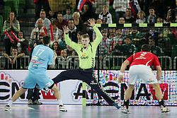 Dragan Gajic of Slovenia and Jaszka Bartlomiej of Poland during handball match between National teams of Slovenia and Poland of Qualifications for EURO 2012, on March 9, 2011 in Arena Stozice, Ljubljana, Slovenia. (Photo By Urban Urbanc / Sportida.com)
