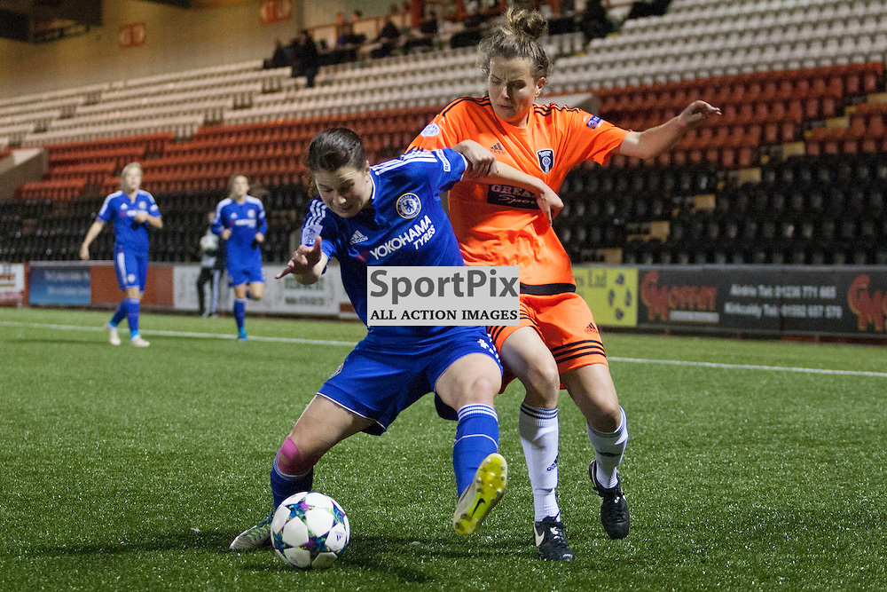 Niamh Fahey (CLFC 6) and Hayley Lauder (GCFC 4) in the Glasgow City v Chelsea LFC Women's Champions League last-32 2nd Leg 14 October 2015<br />