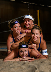 02-07-2018 NED: EC Beach teams Netherlands, The Hague<br /> (L-R) Sanne Keizer NED, Madelein Meppelink NED, Joy Stubbe NED en Marleen van Iersel NED