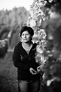 Black and white portrait of  Woman Vineyard Worker