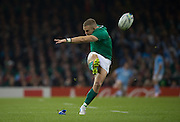Cardiff, Great Britain, Irelands' Ian MADIGAN, kicking during the  Quarter Final   Ireland vs Argentina.  2015 Rugby World Cup,  Venue, Millennium Stadium, Cardiff. Wales   Sunday  18/10/2015.   [Mandatory Credit; Peter Spurrier/Intersport-images]