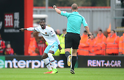 Pedro Mba Obiang of West Ham United reacts to the referee decision. - Mandatory by-line: Alex James/JMP - 11/03/2017 - FOOTBALL - Vitality Stadium - Bournemouth, England - Bournemouth v West Ham United - Premier League