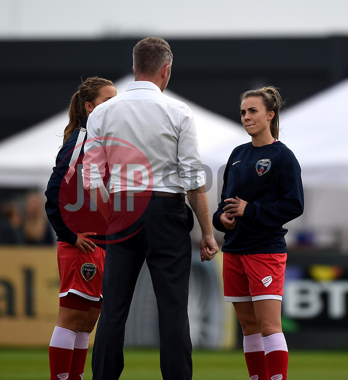 Georgia Evans of Bristol Academy Women listens to manager, Willie Kirk - Mandatory by-line: Paul Knight/JMP - Mobile: 07966 386802 - 04/10/2015 -  FOOTBALL - Stoke Gifford Stadium - Bristol, England -  Bristol Academy Women v Liverpool Ladies FC - FA Women's Super League