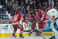 REGINA, SK - MAY 19: Olivier Galipeau #26, Jeffrey Truchon-Viel #25 and Samuel Asselin #28 of Acadie-Bathurst Titan celebrate a second period goal against the Swift Current Broncos at the Brandt Centre on May 19, 2018 in Regina, Canada. (Photo by Marissa Baecker/CHL Images)