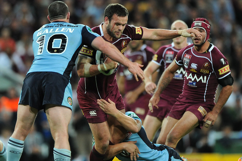 July 6th 2011: Nate Myles of the Maroons is tackled during game 3 of the 2011 State of Origin series at Suncorp Stadium in Brisbane, QLD, Australia on July 6, 2011. Photo by Matt Roberts / mattrimages.com.au / QRL
