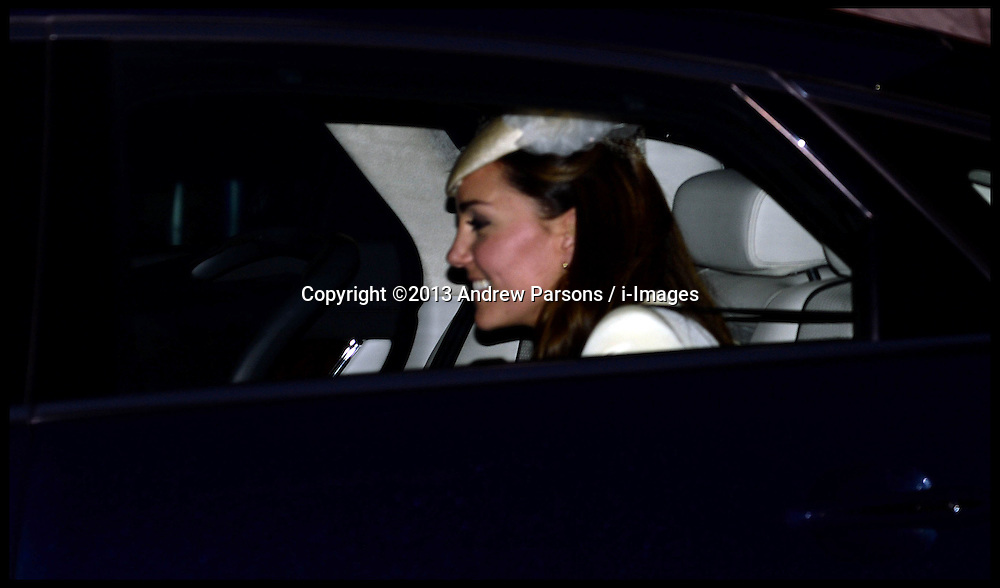 The Duke and Duchess Of Cambridge leave after their son's Prince George's  Christening at St.James's Palace in London, Wednesday, 23rd October 2013. Picture by Andrew Parsons / i-Images