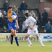 Photo: Mark Stephenson.<br />Shrewsbury Town v Torquay United. Coca Cola League 2. 24/03/2007. Shrewsbury's Stewart Drummond win's the ball from Torquay's Ryan Dickson