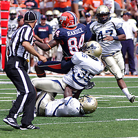 Charleston Southerns DB Corbin Jackson #35 tackles Illinois WR Justin Hardee #84 during the Illinois Charleston Southern game at  Memorial Stadium, Champaign, Illinois, September 15, 2012. George Strohl/AI Wire...