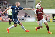Southend United defender John White (2) battles for possession during the EFL Sky Bet League 1 match between Northampton Town and Southend United at Sixfields Stadium, Northampton, England on 24 September 2016. Photo by Dennis Goodwin.