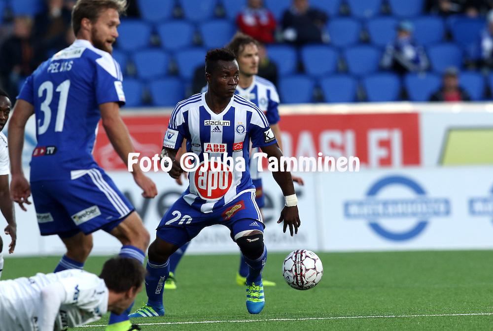 21.9.2016, Sonera Stadion, Helsinki.<br /> Veikkausliiga 2016.<br /> Helsingin Jalkapalloklubi - Rovaniemen Palloseura.<br /> Vincent Onovo - HJK