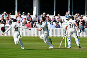 (Caption Correction) Wicket - Lewis Gregory of Somerset celebrates taking the wicket of Joe Clarke of Worcestershire during the Specsavers County Champ Div 1 match between Somerset County Cricket Club and Worcestershire County Cricket Club at the Cooper Associates County Ground, Taunton, United Kingdom on 20 April 2018. Picture by Graham Hunt.
