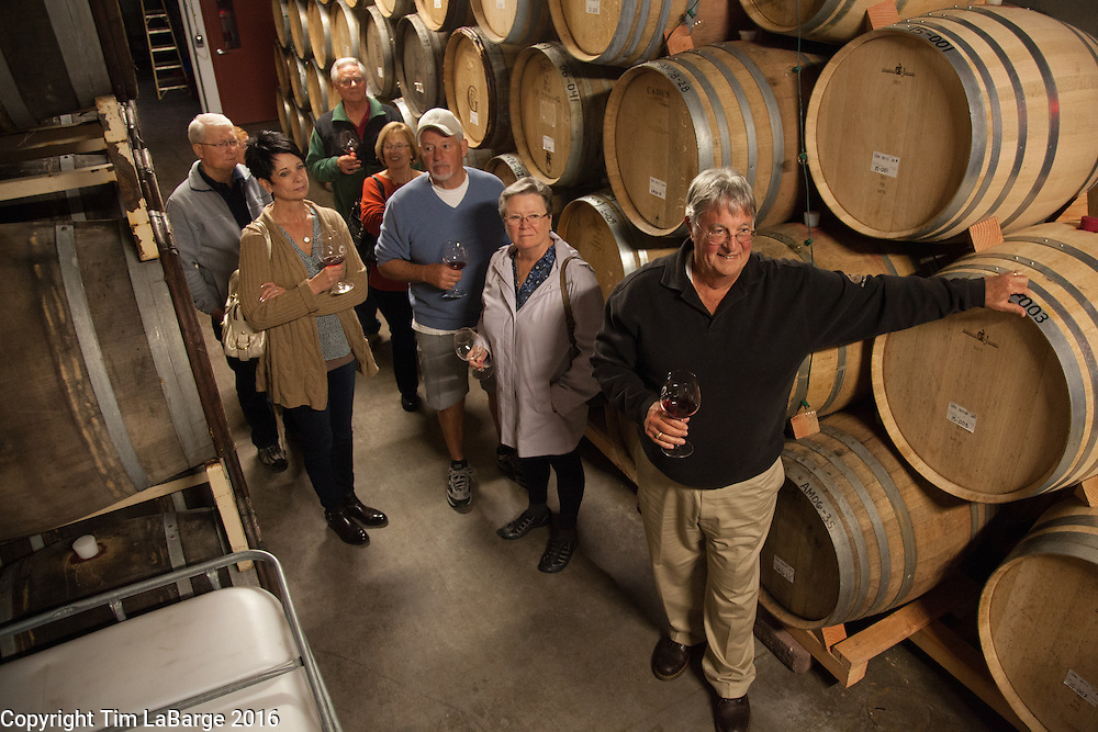 Don Byard of Eola Hills Vineyard leads a tour at  Brooks Wines near Amity. Photo © Tim LaBarge 2016