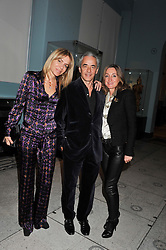 Left to right, RAFFAELLA CARTLEDGE, ALAIN ZAQUIN and LUDOVICA GRISI della PIE at a private view of the V&A's exhibition Golden Spider Silk held at the Victoria & Albert museum, London on 24t January 2012.
