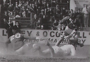 The dust rises around Cork's Seanie O'Leary and Limerick goalkeeper Tommy Quaid in the 1980 Munster Final.