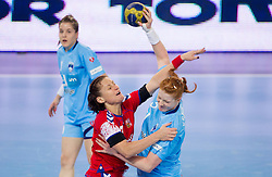 Simerska  of Czech republic  vs Lina Krhlikar of Slovenia during handball match between Women National Teams of Slovenia and Czech Republic of 4th Round of EURO 2012 Qualifications, on March 25, 2012, in Arena Stozice, Ljubljana, Slovenia. (Photo by Vid Ponikvar / Sportida.com)