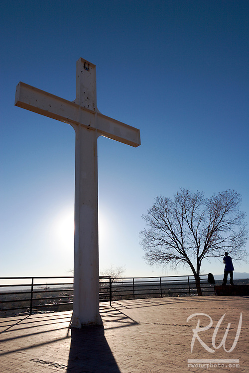 Cross of the Martyrs and Man Contemplating His Future, Santa Fe, New Mexico