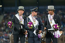 Brauchle Michael, (GER), Chardon IJsbrand, (NED), De Ronde Koos, (NED)<br /> Driving competition Prizegiving<br /> European Championships - Aachen 2015<br /> © Hippo Foto - Dirk Caremans<br /> 22/08/15