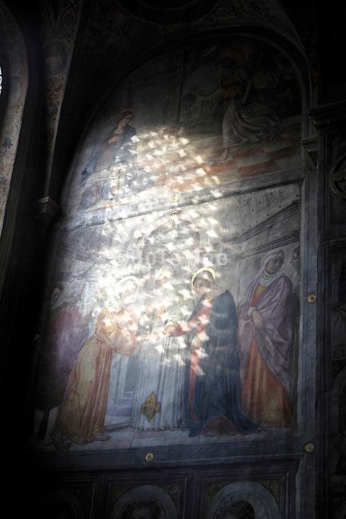renaissance wall painting with sunlight Italy Padova