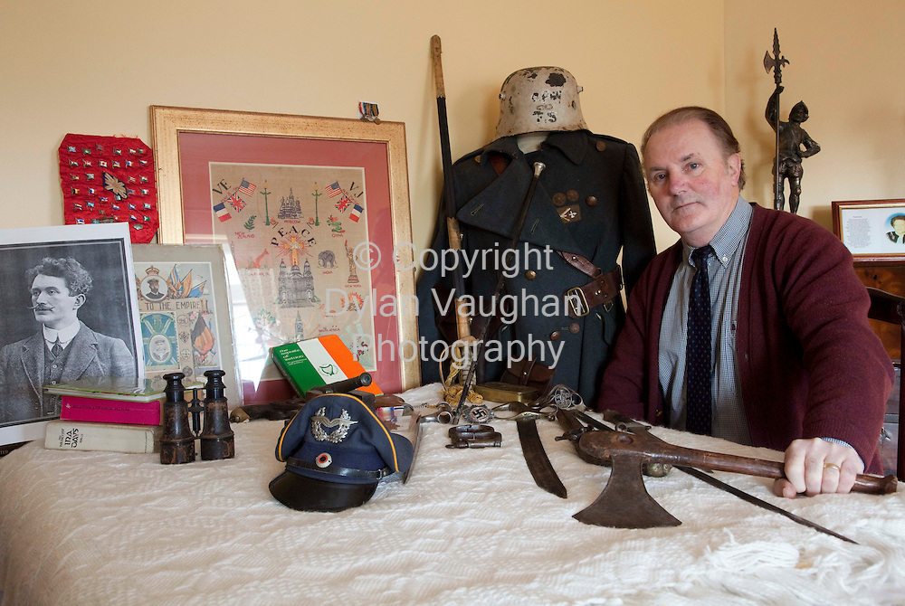 2/1/2009.Stephen Quinn pictured with some of his war memorabilia at his home in Graiguenamanagh County Kilkenny.. Picture Dylan Vaughan.