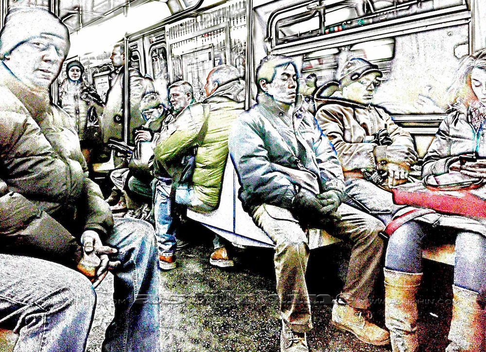 People in NYC subway train.