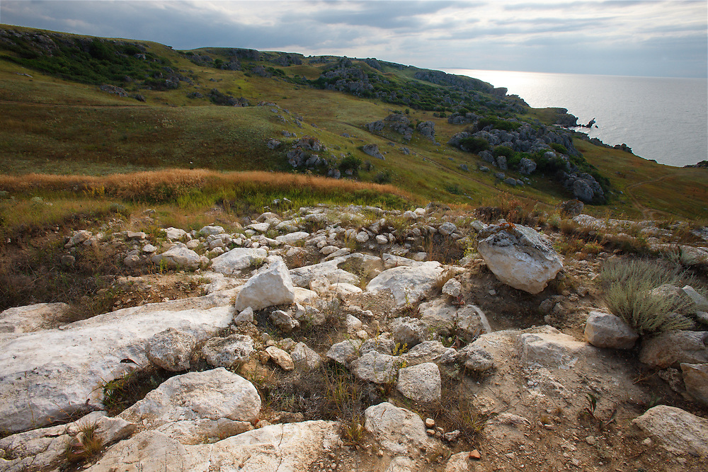 Steppe landscapes of Bagerova at Azov Seashore, Kerch Peninsula, Crimea, Ukraine