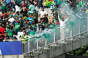A green smoke bomb is set off as Pakistan beat Bangladesh during the ICC Cricket World Cup 2019 match between Pakistan and Bangladesh at Lord's Cricket Ground, St John's Wood, United Kingdom on 5 July 2019.