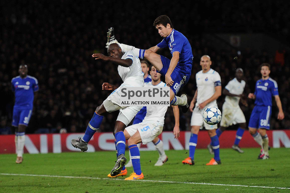 Chelseas Oscar and FC Portos Vincent Aboubakar in action during the Chelsea v FC Porto Champions League match in the group stage on the 9th December 2015.