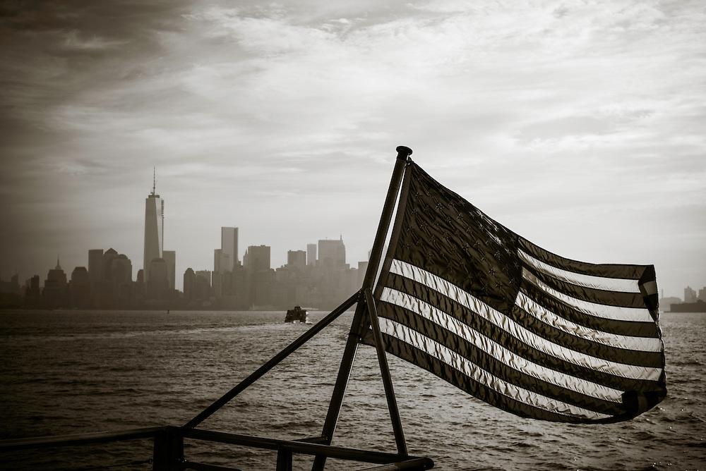 Downtown Manhattan, seen from New York Harbor.