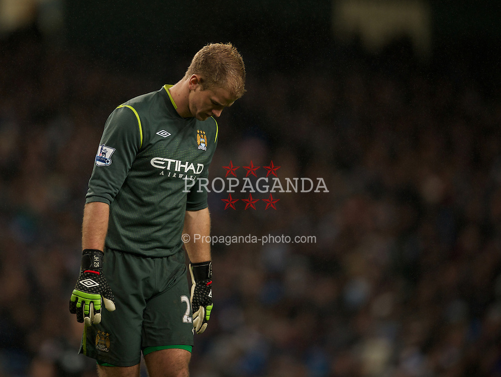 MANCHESTER, ENGLAND - Wednesday, January 11, 2012: Manchester City's goalkeeper Joe Hart during the Football League Cup Semi-Final 1st Leg against Liverpool at the City of Manchester Stadium. (Pic by David Rawcliffe/Propaganda)