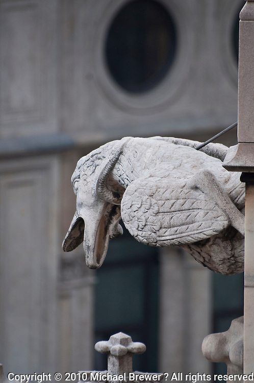 Milan, Italy, Duomo Cathedral - bird shaped  stone gargoyle.