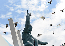 NAGASAKI, Aug. 9, 2016 (Xinhua) -- Pigeons fly around the Peace Statue at the Peace Park in Nagasaki, on Aug. 9, 2016, the 71st anniversary of U.S. atomic bombing. To accelerate Japan's surrender in the World War II, the U.S. forces dropped two atomic bombs on Hiroshima and Nagasaki respectively on Aug. 6 and 9, 1945.  (Xinhua/Ma Ping) (syq) (Credit Image: © Ma Ping/Xinhua via ZUMA Wire)