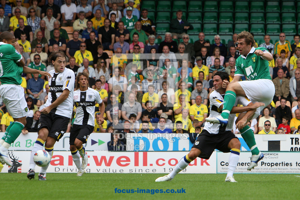 Grant Holt of Norwich has a shot on goal during the pre season friendly at Carrow Road Stadium, Norwich...Picture by Paul Chesterton/Focus Images Ltd.  07904 640267.6/8/11