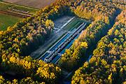 Nederland, Noordoostpolder, Markenesse, 04-11-2018; Waterloopbos, voormalig Waterloopkundig Laboratorium &quot;De Voorst&quot; (WLV). De Deltagoot, nu kunstwerk Deltawerk // (kunstenaars Ronald Rietveld, Erick de Ly)<br /> Waterloopbos (watercourse wood), former hydrological laboratory.<br /> <br /> luchtfoto (toeslag op standaard tarieven);<br /> aerial photo (additional fee required);<br /> copyright &copy; foto/photo Siebe Swart