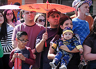 Parade goers watch during the 119th annual Chinese New Year &quot;Golden Dragon Parade&quot; in the streets of Chinatown in Los Angeles, the United States, Saturday Feburary 17, 2018. (Xinhua/Zhao Hanrong)<br /> 2月17日,在美国洛杉矶,人们站在街道两侧欢迎游行队伍。当日,第119届金龙大游行在洛杉矶举行,庆祝中国农历新年。 (Photo by Ringo Chiu)<br /> <br /> Usage Notes: This content is intended for editorial use only. For other uses, additional clearances may be required.