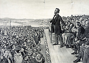 Abraham Lincoln making his famous address on 19 November 1863 at the dedication of the Soldiers' National Cemetery at Gettysburg on the site of the American Civil War battle with the greatest number of casualties.