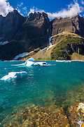 Icebergs on Iceberg Lake, Many Glacier, Glacier National Park, Montana USA