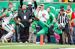 Oct 24, 2015; Huntington, WV, USA; Marshall Thundering Herd running back Remi Watson attempts to dive for a touchdown against the North Texas Mean Green during the first quarter at Joan C. Edwards Stadium. Mandatory Credit: Ben Queen-USA TODAY Sports