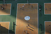 Basketball courts next to the Palace of Culture and Science,  Warsaw, Poland.