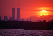 New York, New York City, Lower Manhattan Skyline across Jamaica Bay from Rockaway Park, Queens,, Sunset Twin Towers of the World Trade Center