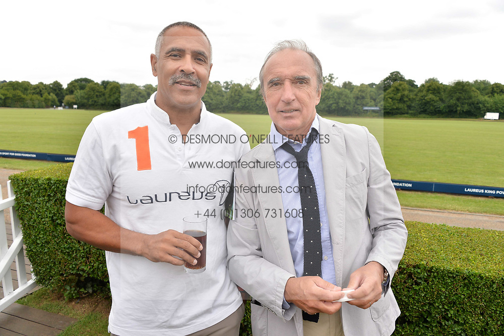Daly Thompson and Hugo Porta at the Laureus King Power Cup polo match held at Ham Polo Club, Richmond, London England. 22 June 2017.<br /> Photo by Dominic O'Neill/SilverHub 0203 174 1069 sales@silverhubmedia.com