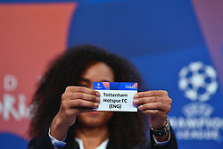 NYON, SWITZERLAND - Monday, December 17, 2018: Lyon player Laura Georges holds up Tottenham Hotspur after making the draw during the UEFA Champions League 2018/19 Round of 16 draw at the UEFA House of European Football. (Handout by UEFA)