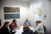 NITV Australian National Indigenous Television Story.<br /> Meeting in NITV offices featuring indigenous paintings and the map of Australia.