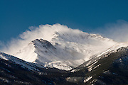 High winds blowing snow of Mt. Yale on a cols Winter day. Collegiate Peaks, Colorado