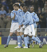 Photo: Aidan Ellis.<br /> Manchester City v Charlton Athletic. The Barclays Premiership. 12/02/2006.<br /> City's Georgios Samaras is congratulated by team mates after scoring the second