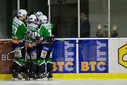 Team HDD Tilia Olimpija celebrates goal near young fan during ice-hockey match between HDD Tilia Olimpija and Moser Medical Graz99ers in 10th Round of EBEL league, on October 10, 2010 at Hala Tivoli, Ljubljana, Slovenia. (Photo By Matic Klansek Velej / Sportida.com)