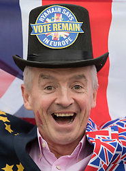 "© Licensed to London News Pictures. 22/06/2016. London, UK. Ryanair's CEO, Michael O'Leary, wears a Union and EU flag suit as he calls for a big ""Remain"" vote in the EU Referendum. The last day of campaigning for the EU referendum is taking place today. Photo credit: Peter Macdiarmid/LNP"