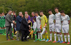 Minister of State Michael Ring TD being introducted to the team's at United Park Westport during the Republic of Ireland Northern Ireland tie as part of  U16 Uefa development tournament.<br /> Pic Conor McKeown