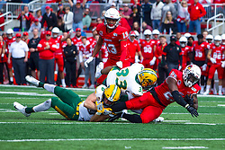 NORMAL, IL - October 05: James Hendricks and Destin Talbert stop the run by James Robinson during a college football game between the ISU (Illinois State University) Redbirds and the North Dakota State Bison on October 05 2019 at Hancock Stadium in Normal, IL. (Photo by Alan Look)